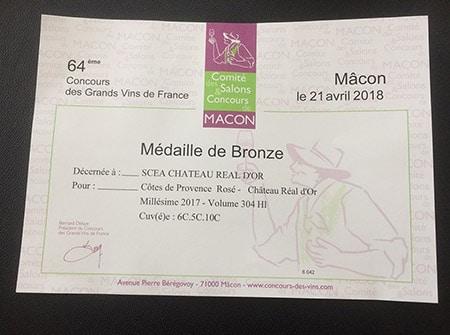 Vin rosé médaillé de Bronze à Mâcon (2018)